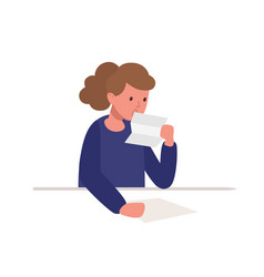 cute-girl-sitting-at-desk-and-reading-letter-vector-25526730